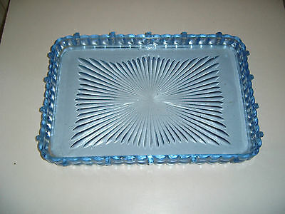Large Art Deco Blue Glass Dressing Table Tray