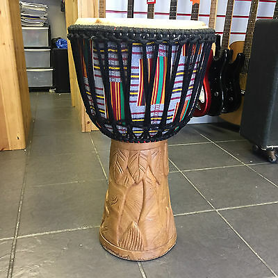 """Djembe African Hand Carved Hand Drum 12"""" Head"""