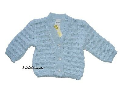 Baby boys cardigan blue 0-3 months acrylic machine knitted