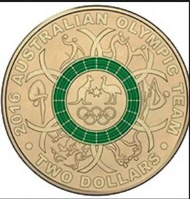 2016 Australian Olympic Coin - Green $2 Two Dollar Coin