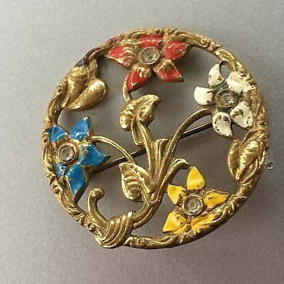 Antique Victorian Pinchbeck Cold Enamel GT Floral Round Reticulate Brooch Pin
