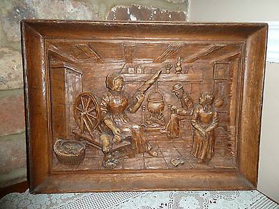 Vintage French Hand Painted 3D Resin Wooden Plaque Picture