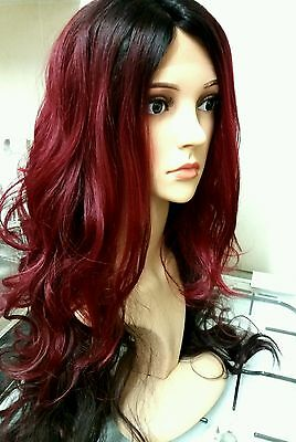 """human hair wig, red, brunette, dip dyed, lace front, real hair, 30"""" long"""