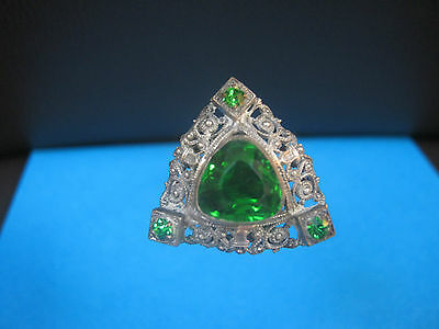 GENUINE ANTIQUE HATPIN - SILVER FILIGREE METAL and FACETTED GREEN GLASS.