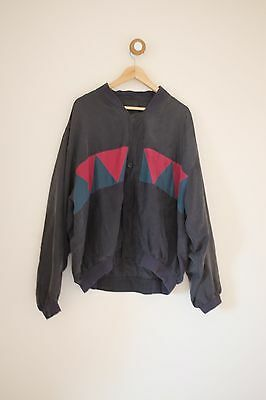 Vintage red, blue and green silk bomber jacket XL