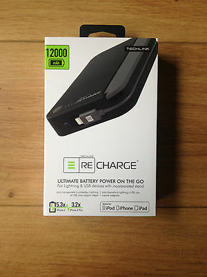 NEW TECHLINK 12000mah ULTIMATE BATTERY ReCharge WITH APPLE LIGHTNING CABLE !!