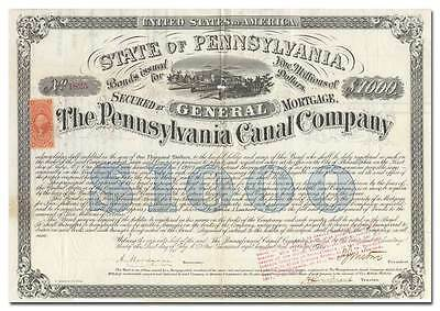 Pennsylvania Canal Co. Bond Certificate Signed by Civil War General Isaac Wistar