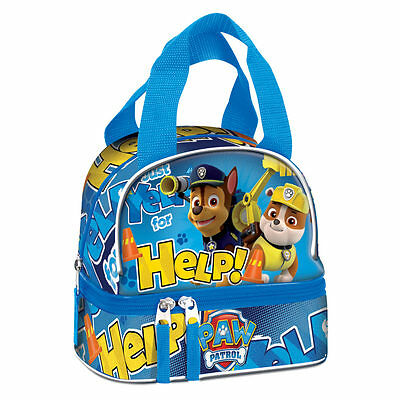 Paw Patrol Double Lunch Bag Travel School Snack Box Rubble Chase HELP Blue