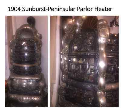 Vintage 1904 Sunburst-Peninsular Parlor Heater With Original Isinglass Windows