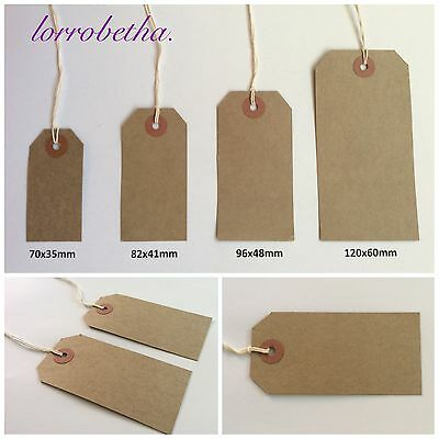 Buff Brown Manilla Strung Tags Tie On Luggage Gifts Price Strings Craft Card