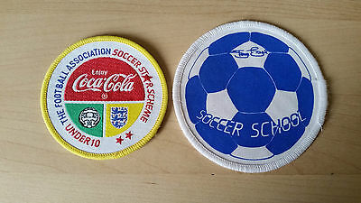 SET OF TWO FOOTBALL SCHOOL PATCHES soccer kids youth FA UK retro emo collector