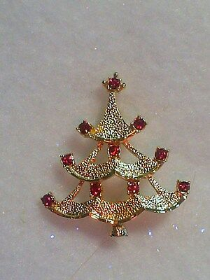 Tiny Red Christmas Tree Crystal Brooch Made In Czech