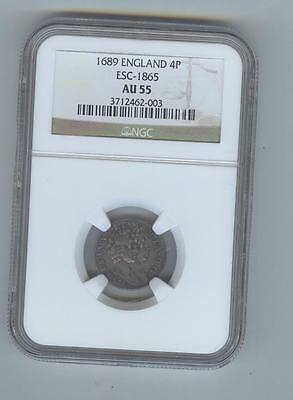 Great Britain, England 1889. William & Mary 4 pence, NGC AU55, luster, nice coin