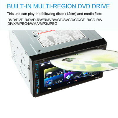 "6.95"" Pantalla Táctil HD 2DIN Bluetooth Coche DVD MP3 Reproductor AUX FM SD WIFI"