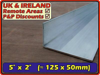 "Aluminium Angle (L section,edging,bracket,profile) 5"" x 2"" (≈ 125mm 50mm 125x50)"