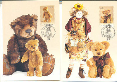 Australia-Teddy Bears & Dolls set of 5 stamped cards(official)Toys-Christmas