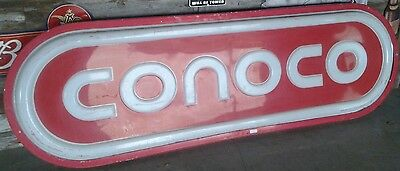 """Conoco Vintage Lighted Sign 8' Foot 96"""" x 30"""" Antique Gasoline Gas Advertising"""