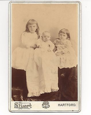 Three 19th Century Children Cabinet Card Baby In Christening Clothes and Sisters