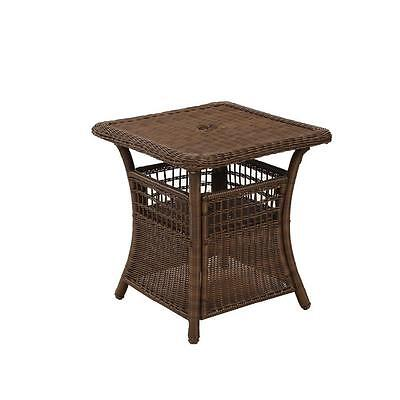New Hampton Bay Spring Haven Brown All Weather Wicker Patio Side Accent Table