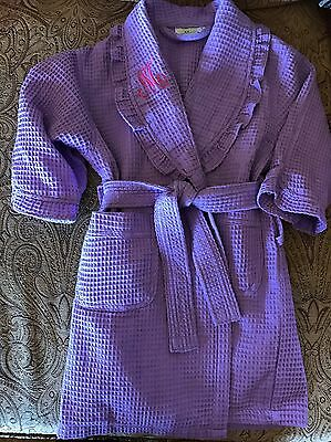 Waffle BathRobe Girls Size Small S Purple Monogrammed M EUC