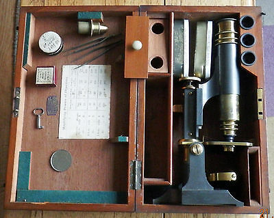 BROADHURST CLARKSON & Co TRAVELLING MICROSCOPE in MAHOGANY FITTED CASE