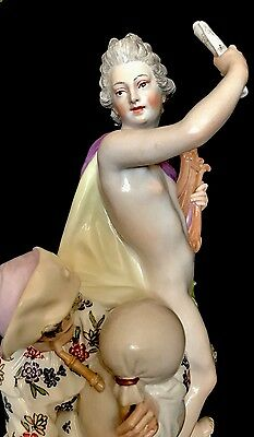 Antique German Dresden KPM Berlin Porcelain Figurine Of Apollo With Satyr