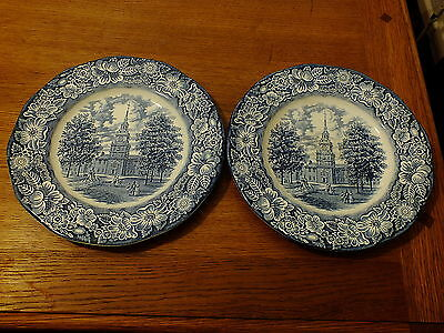 Staffordshire Liberty Blue Independence Hall Dinner Plates X 2