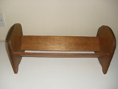OLD MAHOGANY BOOK REST / STAND / TROUGH IDEAL FOR CD's OR DVD's