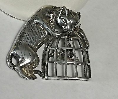Adorable Vintage Jezlaine Sterling Silver 925 Cat in Bird Cage Brooch/Pin