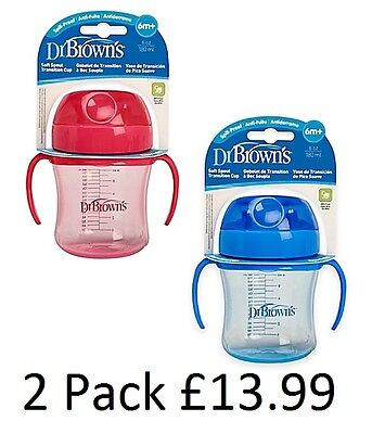 Dr Brown's Trainer Cup Soft Spout, Baby Toddler Sippy Cup, Babys First Cup
