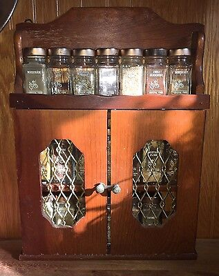 Vintage Wood Spice Cabinet Rack w Doors & 20 Spice Jars Crystal Food Products