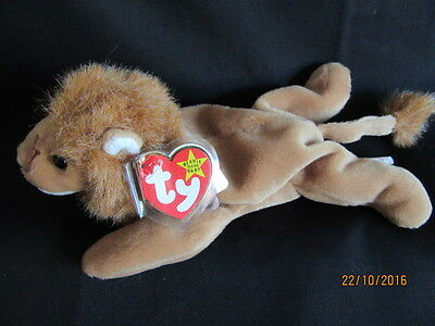 Nwt Ty Beanie Baby Roary - The Lion - Handmade In Indonesia