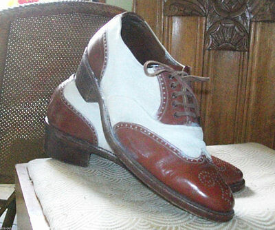 American 1940s original womens brouge two tone shoes size 6 and half UK