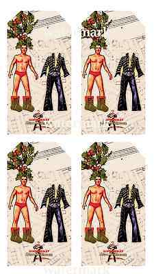 20 gift tags Christmas Elvis wearing stockings a holly hat dress up paper doll