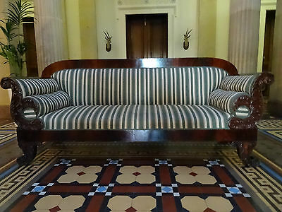 MAGNIFICENT V.LARGE 19th CENTURY REGENCY FLAME MAHOGANY SCROLL END SETTEE SOFA