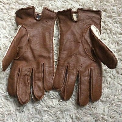 True Vintage Brown Leather Driving Gloves Size 9.5 Large Lined Cotton New Unused