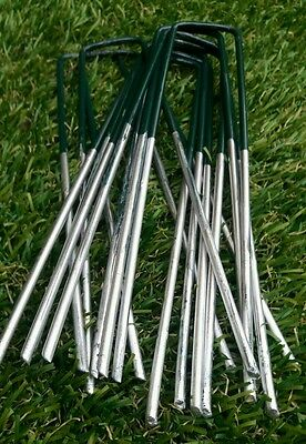 50 x Half Green Artificial Grass Turf U Pins Metal Galvanised Pegs Staples Weed