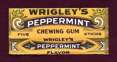 """Hard to Find - Wrigley's """"Peppermint""""  Chewing Gum Wrapper"""