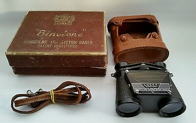 "Vintage Lucky ""Binotone"" Binoculars Transistor Radio With Leather Case & Box"