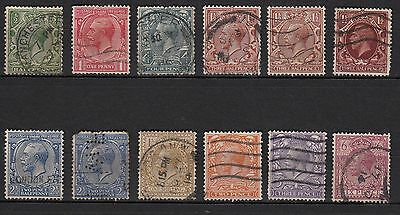 R84) Lot x12 Timbres ROYAUME-UNI/UNITED-KINGDOM GEORGES V 1912 used-oblitérés