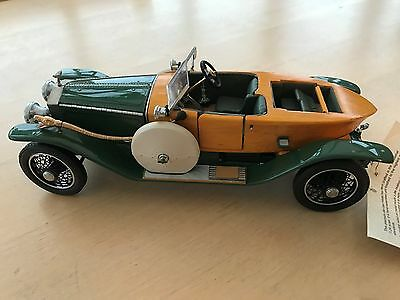 Franklin Mint 1914 Rolls Royce Silver Ghost With Wooden Coach Work 1:24 Scale