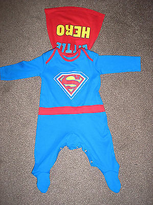 Baby Boys Superman Sleepsuit Age 3-6 Months New Wot