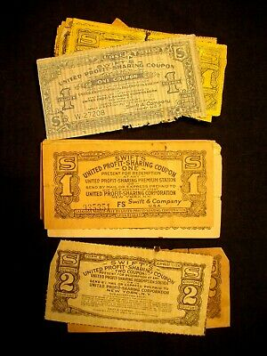 """Vintage SWIFT SOAP PRODUCTS """"1"""" coupon UNITED PROFIT SHARING CORP. LOT of 62"""