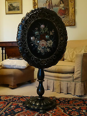 Mid 19thc EBONISED PAPIER MACHE PIE CRUST OVAL FLORAL PAINTED TILT TOP TABLE