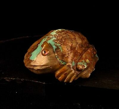 ZMT Zuni Frog Fetish by Ricky Laahty - Natural Turquoise & Rhyolite