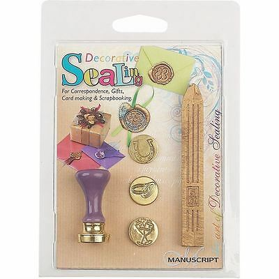 Manuscript Sealing Set 5 Pack 3 Coins Fine Handle Wax Card Making Assorted