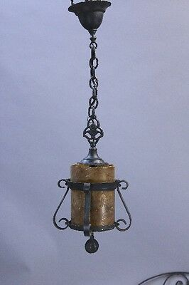 1920s Spanish Revival Iron Pendant Light w Mica Antique Vintage Lighting (9946)
