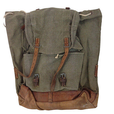 Retro Vintage Canvas and Leather Salt n Pepper Swiss Army Rucksack Backpack