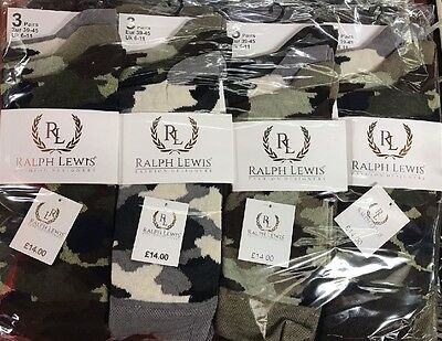 3Prs Mens Ralph lewis Socks Camo/Camouflage Army Cotton Rich Socks 6-11,RRP £14