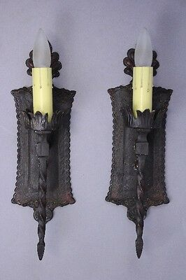 Pair 1920s Spanish Revival Sconce Lights Antique Vintage Lighting Tudor (9943)